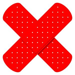 Red Crossed Bandaids